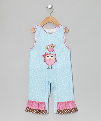 Light Blue & Pink Owl Overalls - Infant