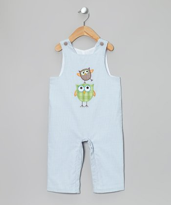 Light Blue Owl Overalls - Infant