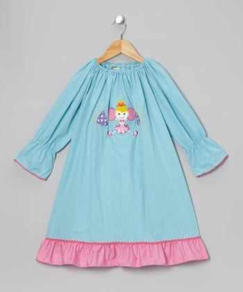 Light Blue & Pink Cheerleader Peasant Dress - Toddler & Girls