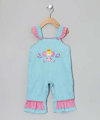 Light Blue & Pink Cheerleader Overalls - Infant