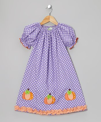 Purple & Orange Pumpkin Peasant Dress - Toddler & Girls