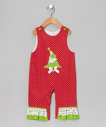 Red & Green Christmas Tree Overalls - Infant
