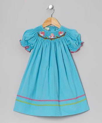 Teal Bird Corduroy Bishop Dress - Infant & Girls