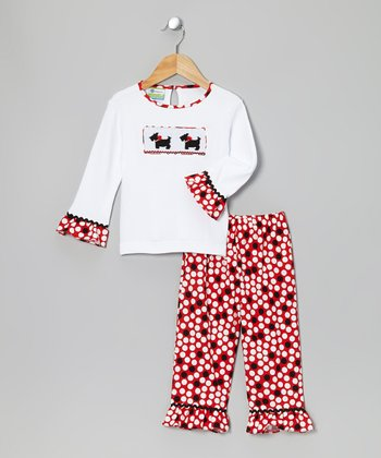 White & Red Scottie Tee & Ruffle Pants - Toddler & Girls