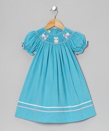 Teal Poodle Corduroy Bishop Dress - Infant, Toddler & Girls