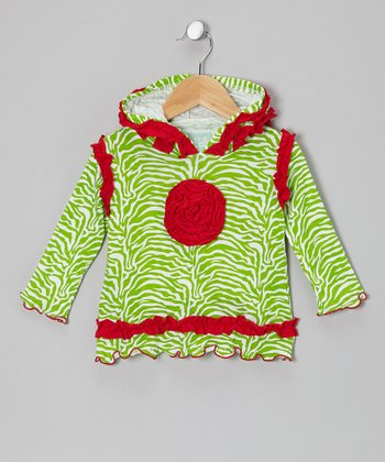 Lime & Red Flower Hoodie - Infant, Toddler & Girls