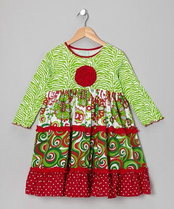Red & Green Katie Dress - Infant, Toddler & Girls