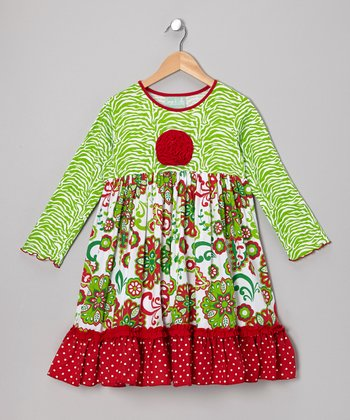 Red & Green Caroline Dress - Infant, Toddler & Girls