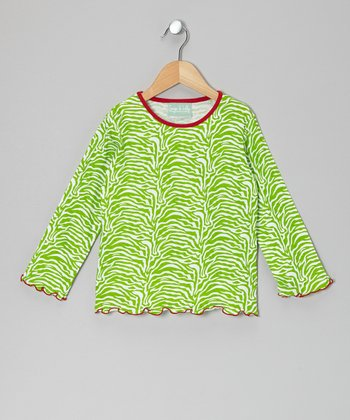 Green & Red Zebra Tee - Infant, Toddler & Girls