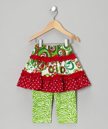 Red & Green Skirted Leggings - Infant, Toddler & Girls