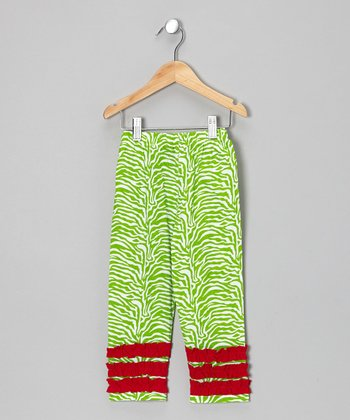 Lime & Red Ruffle Leggings - Infant, Toddler & Girls