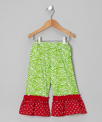 Lime & Red Ruffle Pants - Infant, Toddler & Girls