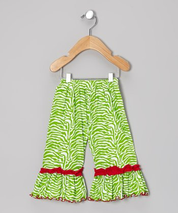 Lime & Red Zebra Ruffle Pants - Infant, Toddler & Girls