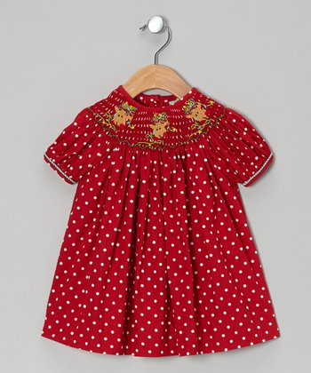 Red Polka Dot Rudolph Bishop Dress - Infant, Toddler & Girls
