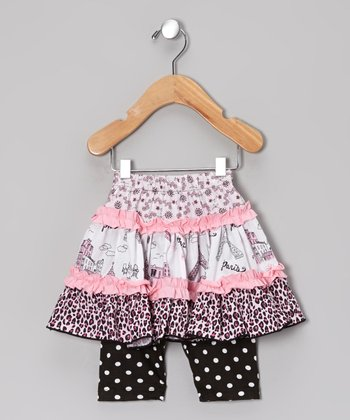 Pink & Black Party in Paris Skirted Leggings - Infant, Toddler & Girls