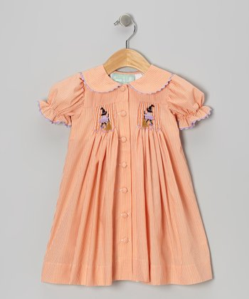 Orange Witch Button-Up Dress - Toddler & Girls