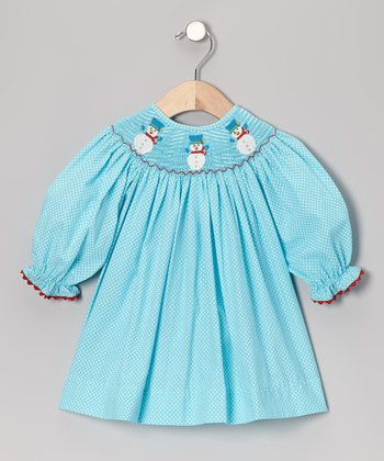 Turquoise Snowman Bishop Dress - Infant, Toddler & Girls