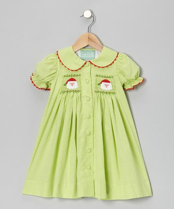 Lime Santa Gingham Dress - Infant, Toddler & Girls