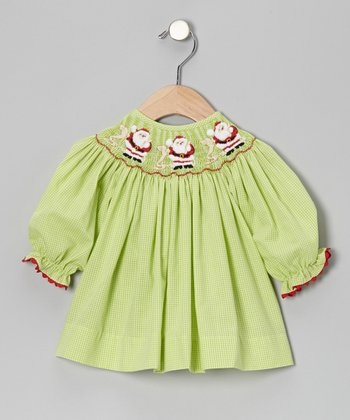Lime Santa List Gingham Bishop Dress - Infant, Toddler & Girls