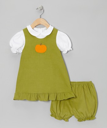 Pistachio Green Pumpkin Jumper Set - Infant