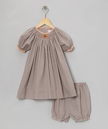 Brown Pumpkin Gingham Bishop Dress & Bloomers - Infant