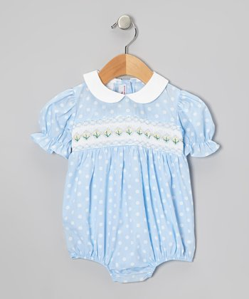 Light Blue Smocked Geometric Bubble Bodysuit - Infant