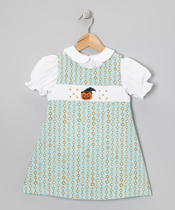 White Top & Blue Smocked Pumpkin Jumper - Infant & Toddler
