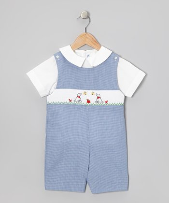 White Top & Blue Dalmatian Smocked Shortalls - Infant & Toddler