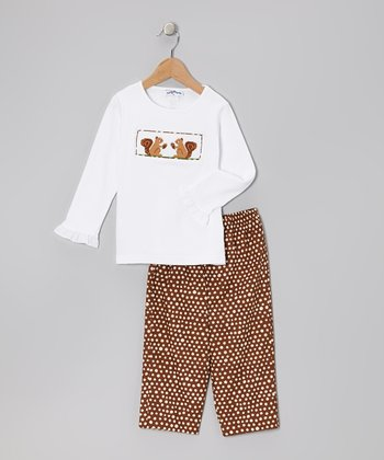 White Squirrel Top & Brown Dot Pants - Toddler