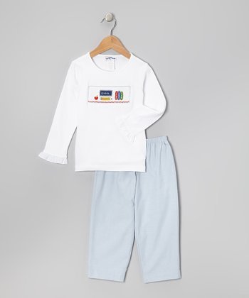 White School Top & Blue Pants - Toddler & Girls