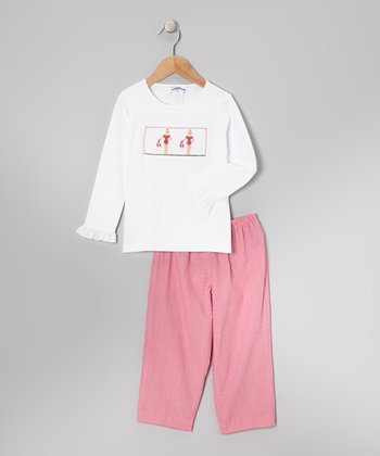 White Ballerina Top & Pink Pants - Infant, Toddler & Girls
