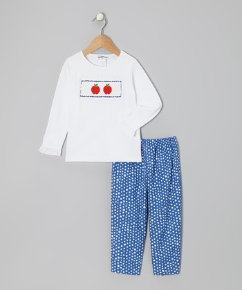 White Apple Top & Blue Dot Pants - Infant, Toddler & Girls