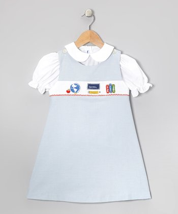 White Top & Blue School Jumper - Toddler & Girls