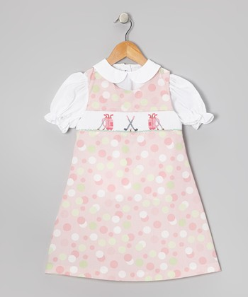 White Top & Pink Smocked Golf Jumper - Infant & Toddler