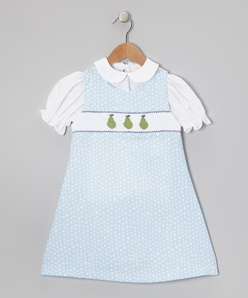 White Top & Blue Pears Jumper - Infant, Toddler & Girls