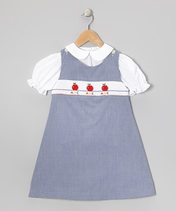 White Top & Blue Apples Jumper - Toddler & Girls