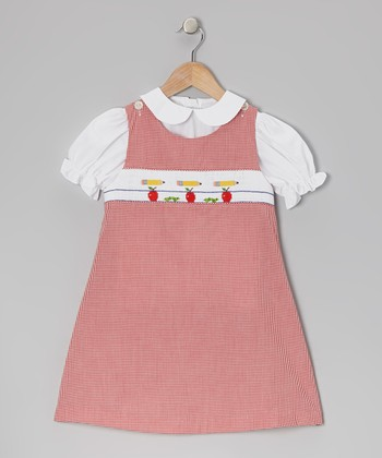 White Top & Red Pencil Jumper - Toddler & Girls