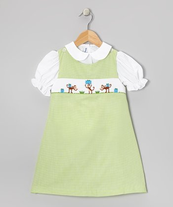 White Top & Green Monkey Smocked Jumper - Toddler