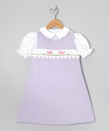Lavender Smocked Pigs Jumper & Puff-Sleeve Top - Infant & Toddler