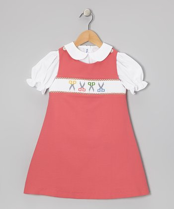White Top & Coral Scissors Jumper - Toddler & Girls
