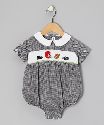 Black Football Bubble Bodysuit - Infant
