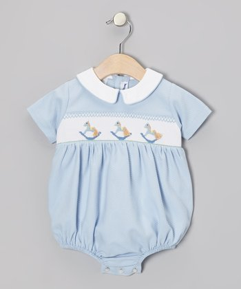 Blue Rocking Horse Bubble Bodysuit - Infant