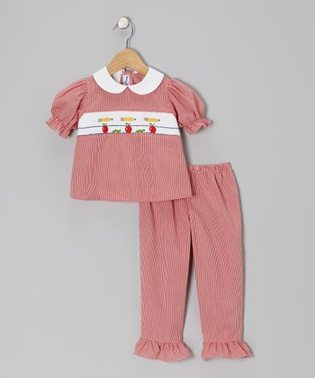 Red Apples Puff-Sleeve Top & Pants - Toddler & Girls