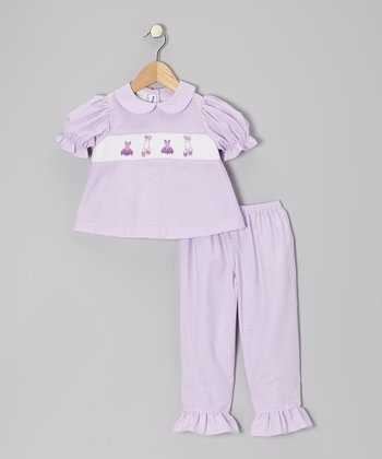 Lavender Ballet Puff-Sleeve Top & Pants - Toddler & Girls