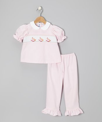 Pink Rocking Horse Puff-Sleeve Top & Pants - Infant