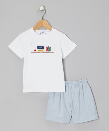 White School Tee & Blue Shorts - Toddler