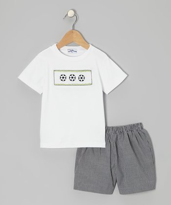 White Soccer Tee & Black Shorts - Infant & Toddler