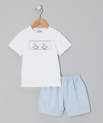 White Rocking Horse Tee & Blue Shorts - Infant