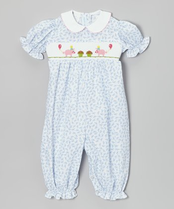 White & Blue Party Pig Smocked Bubble Playsuit - Infant
