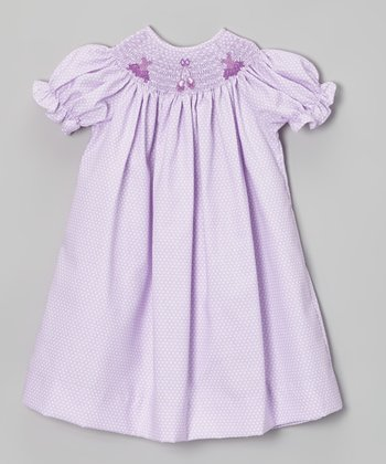 Mauve Polka Dot Ballet Bishop Dress - Infant, Toddler & Girls